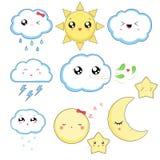 Kawaii-Wetterikonen, nette Charaktere lokalisiert auf weißem Hintergrund lizenzfreie stockfotos