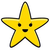 Kawaii Yellow Star Logo Illustration royalty free illustration