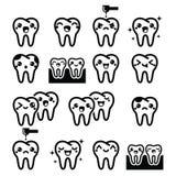 Kawaii ząb, śliczni zębów charaktery - czarne ikony ustawiać Obrazy Stock