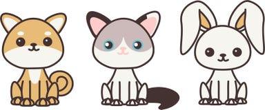 Kawaii zwierzęta domowe royalty ilustracja