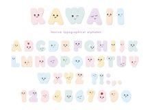 Kawaiialfabet in pastelkleuren met grappige het glimlachen gezichten Voor de kaarten van de verjaardagsgroet, partijuitnodiging,  stock illustratie