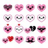Kawaiiharten, geplaatste de Dag leuke vectorpictogrammen van Valentine royalty-vrije illustratie