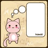 Kawaiikaart met leuke kat op de grungeachtergrond stock illustratie