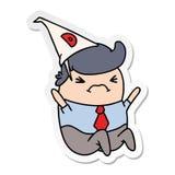 kawaiimens van het stickerbeeldverhaal in dunce hoed stock illustratie