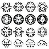 Kawaiisneeuwvlokken, wolken met sneeuw - Kerstmis, geplaatste de winterpictogrammen Stock Foto