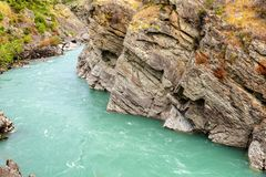 Kawarau river near roaring meg power plant, New Zealand stock image