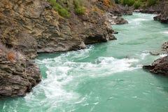 Kawarau river near roaring meg power plant, New Zealand royalty free stock photo