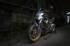 Kawasaki Er 6n con fotografia di Lightpainting Fotografia Stock Libera da Diritti