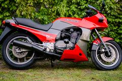 Kawasaki GPZ 900 motorcycle from Top Gun movie photographed outdoor in the park Royalty Free Stock Photography