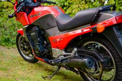 Kawasaki GPZ 900 motorcycle from Top Gun movie photographed outdoor in the park Royalty Free Stock Photo