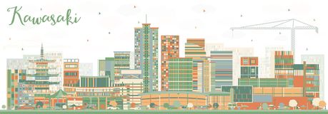 Kawasaki Japan City Skyline avec des bâtiments de couleur illustration stock