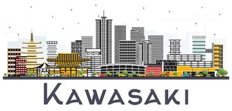 Kawasaki Japan City Skyline avec des bâtiments de couleur d'isolement sur Whi illustration stock
