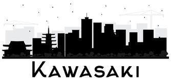 Kawasaki Japan City Skyline Black e siluetta bianca Fotografia Stock