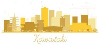 Kawasaki Japan City Skyline Silhouette avec les bâtiments d'or illustration libre de droits