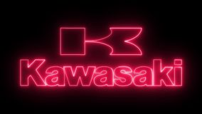 Kawasaki logo with neon lights stock footage
