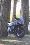 Kawasaki-motorfiets in de schaduw onder de pijnbomen op een heldere Zonnige dag Stock Foto's