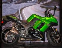 2014 Kawasaki Ninja, demostración de la motocicleta de Michigan Imagen de archivo libre de regalías