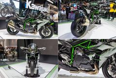 Kawasaki Ninja H2 a montré dans le 31th moteur international de la Thaïlande ex Photos libres de droits