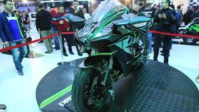 Kawasaki Ninja H2 R 2015 motorcycle stock video footage