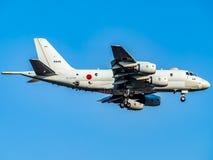 Kawasaki P-1 Maritime Patrol aircraft landing in Atsugi stock images