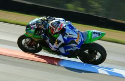 Kawasaki race motorcycle. Pro racer Conner Blevins rides the number 33 on the race track stock photography