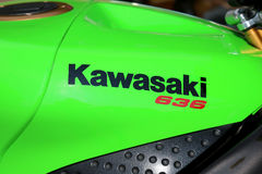 Kawasaki 636 sticker on motorcycle at Yearly Mass Ride Royalty Free Stock Image