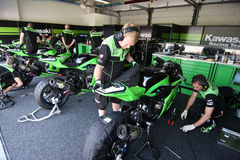 Kawasaki ZX-10R official racing team Stock Photography