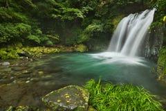 Kawazu waterfall trail, Izu Peninsula, Japan. The Shokeidaru waterfall 初景滝 along the Kawazu Nanadaru waterfall trail on the Izu Peninsula of stock image