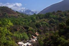 Kaweah River Valley e sierra Nevada Mountain Peak Immagine Stock Libera da Diritti