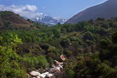 Kaweah River Valley and Sierra Nevada Mountain Peak Royalty Free Stock Image