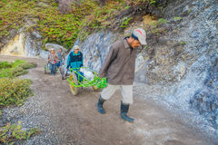 KAWEH IJEN, INDONESIA - 3 MARCH, 2017: Local miners using wheelbarrows to transport sulfur and equipment from mine Royalty Free Stock Photography