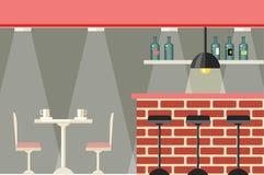 Kawiarni lub baru Wewnętrznego projekta mieszkanie royalty ilustracja