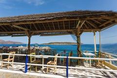 Kawiarnia Agios Nikolaos miasto, Grecja Fotografia Stock
