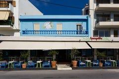 Kawiarnia Agios Nikolaos miasto, Grecja Zdjęcia Royalty Free