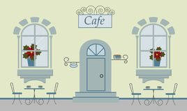 Kawiarnia, dwa okno, drzwi, schodki, czerwień kwitnie Śliczni stoły z filiżankami cofee, herbata lub krzesła royalty ilustracja