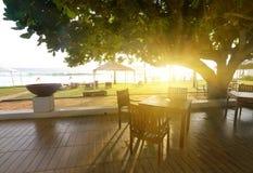 Kawiarnia i ocean Zdjęcie Royalty Free