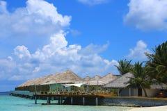 Kawiarnia na tropikalnej Maldives wyspie - natury podróży tło obrazy royalty free
