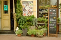 Kawiarnia na ulicie miasto Obrazy Royalty Free