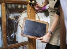 Kawiarnia Otwartego sklepu handlu detalicznego powitania zawiadomienia handlu detalicznego przód Zdjęcie Stock