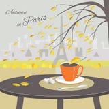 Kawiarnia stół z filiżanką kawy i Paryż tłem ilustracja wektor
