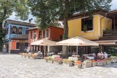 Kawiarnia w środkowym dodatkowym Koprivshtitsa w Bułgaria obrazy stock