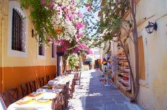 Kawiarnia w starej ulicie, Crete Fotografia Royalty Free