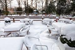 Kawiarnia z śniegiem. Zimy landscaper. Obraz Royalty Free