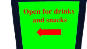 Kawiarnia znak bufet Kawiarnia Otwiera dla napojów i przekąsek znaka Zdjęcia Royalty Free