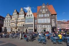Kawiarnie w starym miasteczku Bremen, Niemcy Fotografia Royalty Free