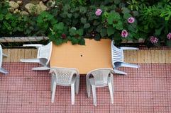 kawioru obiadowych blinów stołowy tablecloth Obrazy Royalty Free