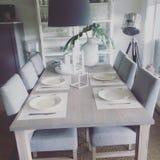 kawioru obiadowych blinów stołowy tablecloth Zdjęcie Stock