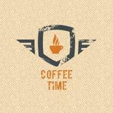 Kawowa czas etykietka Fotografia Stock