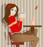 kawowa dziewczyna Obraz Royalty Free