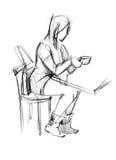 kawowa dziewczyna stół Ilustracji